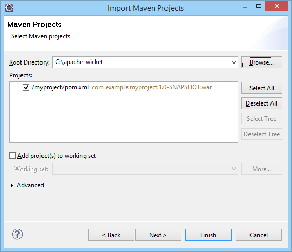 Apache Wicket Import Select Root