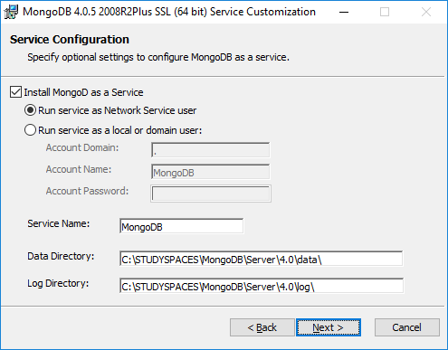 MongoDB Install As Service