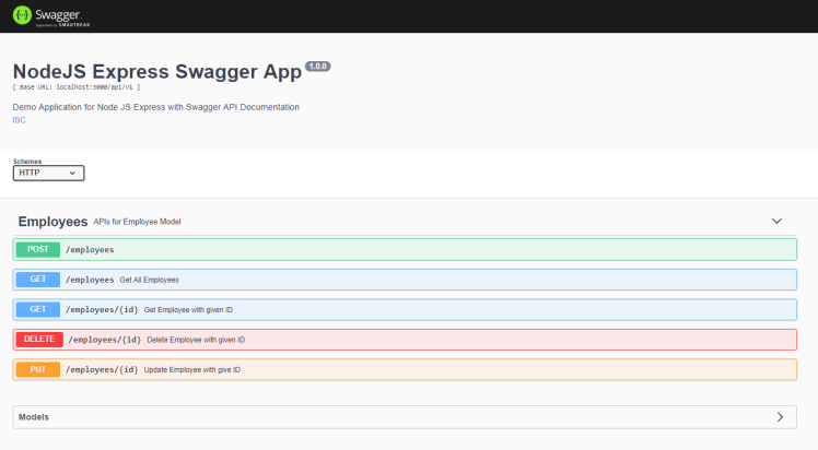 NodeJS Express Swagger2 Application Swagger UI Screen